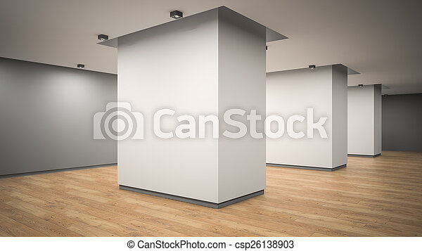 Empty gallery interior angle view 3D rendering  - csp26138903