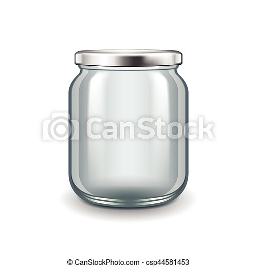 Empty glass jar isolated on white vector - csp44581453