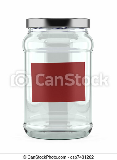 Empty Glass Jar with red label - csp7431262