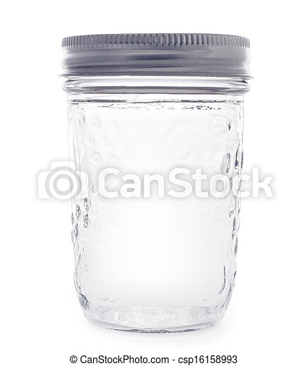 empty glass jarr isolated on a white background - csp16158993