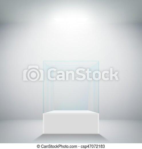 Empty glass showcase for exhibit - csp47072183