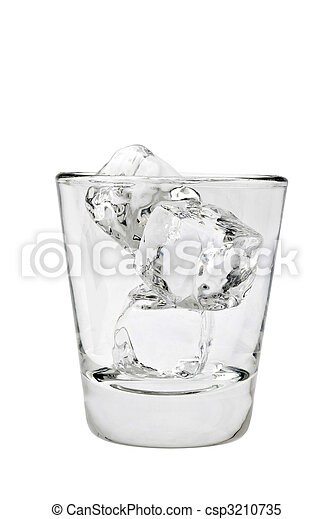 Empty glass tumbler with ice cubes on a white background - csp3210735