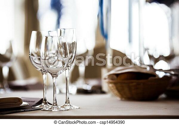 Empty glasses set in restaurant - csp14954390