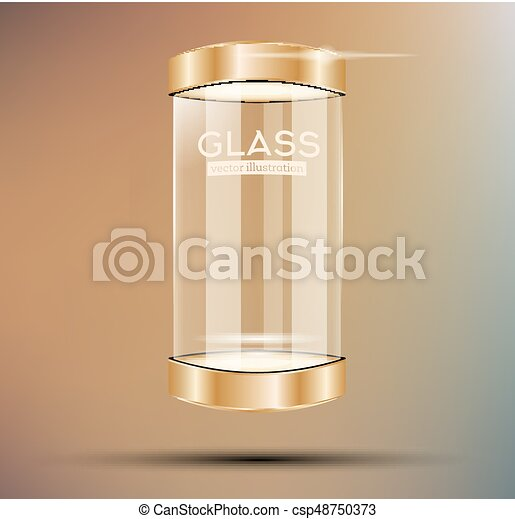 Empty Golden Glass Showcase. - csp48750373