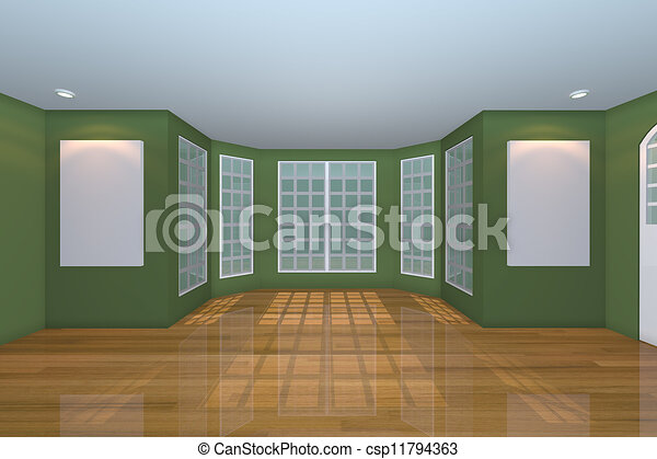 Empty Green Living Room Home Interior Rendering With Empty Room Color Green Wall And Decorated With Wooden Floors Canstock