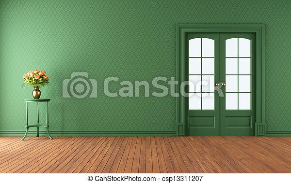 Empty Green Living Room With Sliding Door