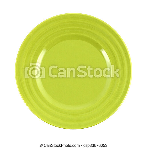 empty green plate on white background - csp33876053