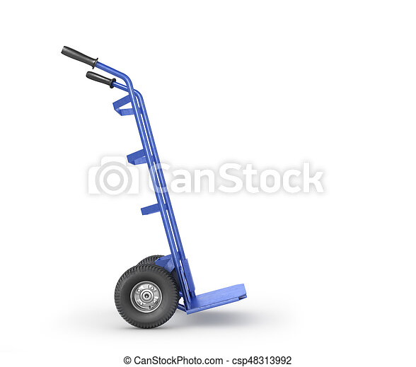 Empty hand truck isolation on a white background. 3d illustration - csp48313992