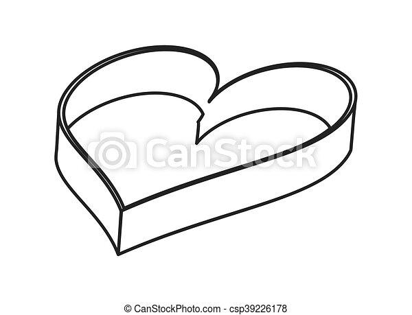 Flat design empty heart shaped box icon vector illustration.