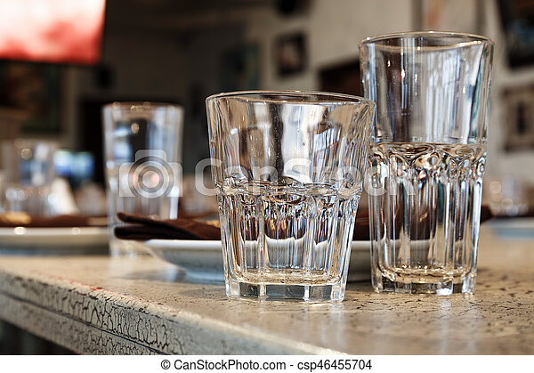 Empty juice glasses on the table - csp46455704