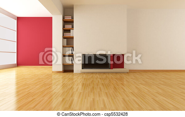empty living room with minimalist fireplace - csp5532428