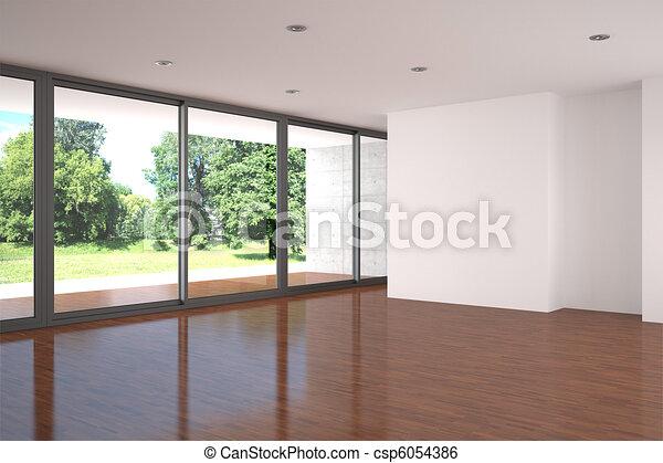 empty living room with parquet floor - csp6054386