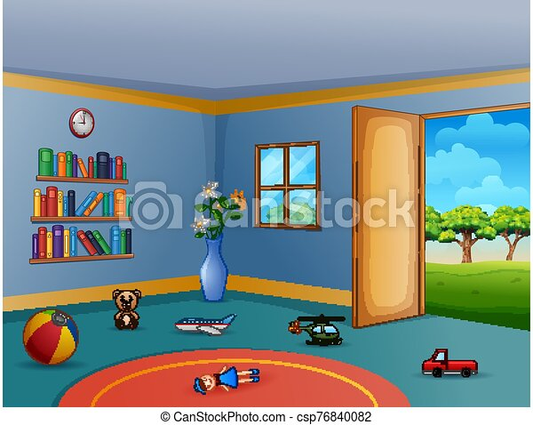 Empty living room with the messy children toys - csp76840082