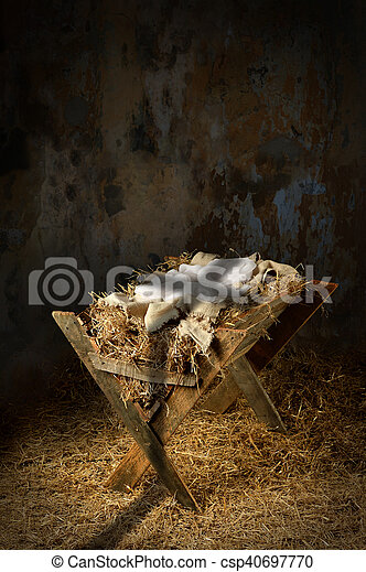Empty Manger With Cross Shadow - csp40697770