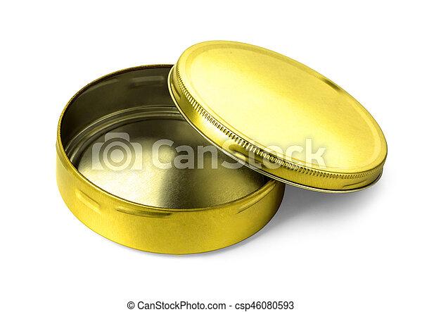Empty metal box isolated - csp46080593