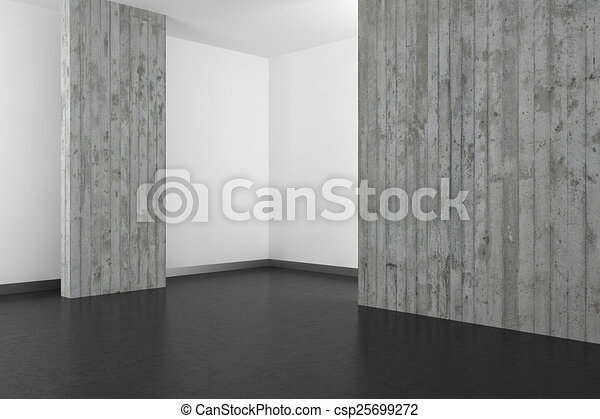 empty modern bathroom with concrete wall and dark floor  - csp25699272