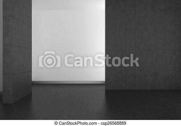 empty modern bathroom with gray tiles and dark floor - csp26568889