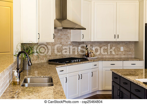Empty Modern Kitchen With Granite Countertops