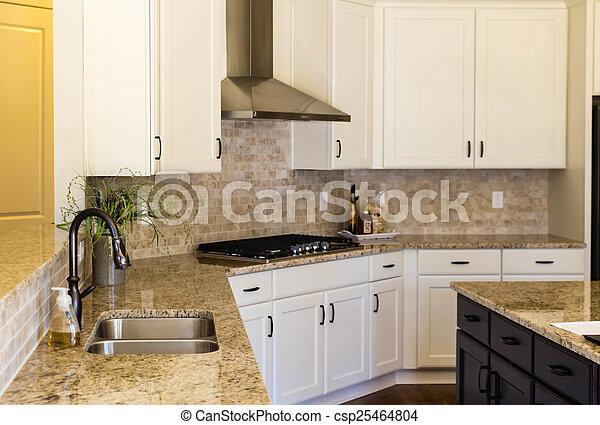 Empty Modern Kitchen With Granite Countertops