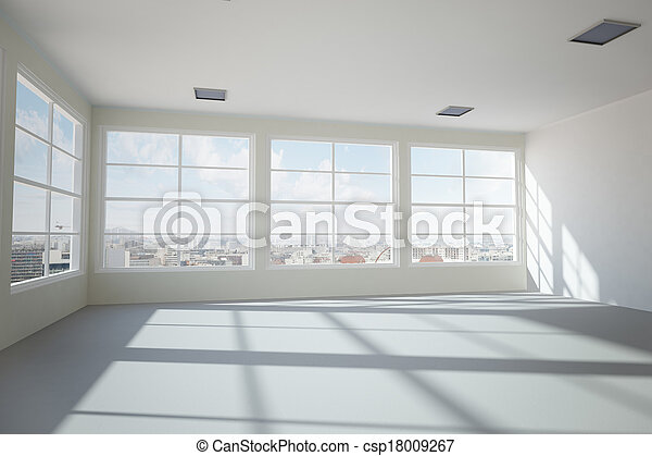 Empty modern office room with urban skyline stock image - Search ...