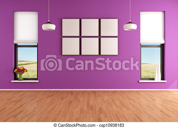 Empty Modern Purple Room With Two Windows Rendering The Image On
