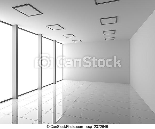 Empty Modern White Interior with Big Windows - csp12372646
