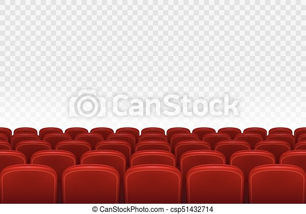 Empty Movie Theater Auditorium With Red Seats Rows Of Red Cinema Movie Theater Seats On Transparent Background Vector