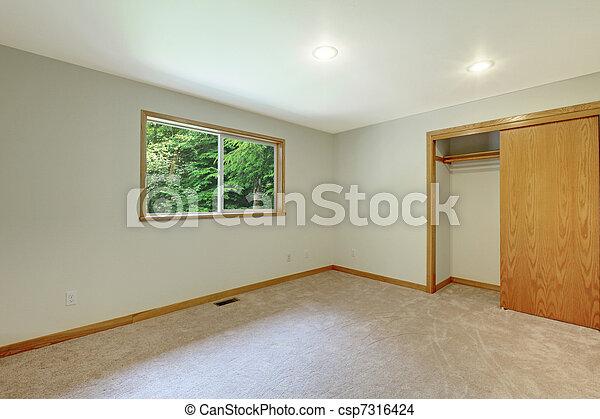 Empty New White Room With Open Closet Door Stock Photo