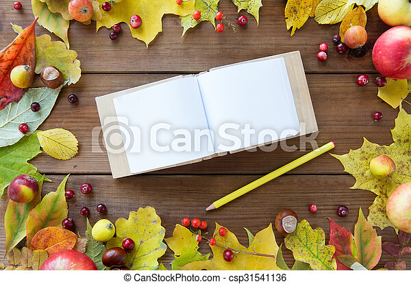 empty note book with pencil and autumn leaves - csp31541136