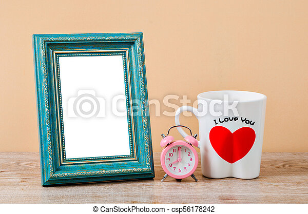 Empty of old style antique wooden craft photo frame. - csp56178242