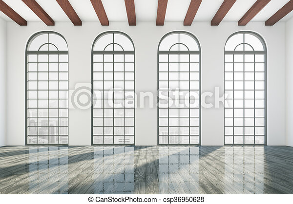 Empty office room. Empty business room interior with windows and ...
