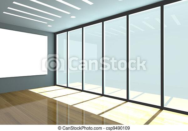 Empty office room. Office interior rendering with empty room ...