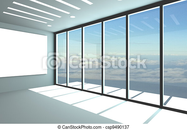 Empty office room. Office interior rendering with empty room color ...