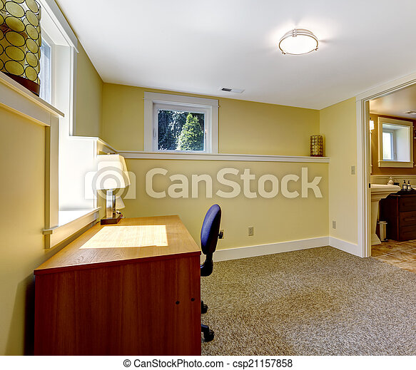 Empty office room with bookshelf and desk. Empty office room in soft ...