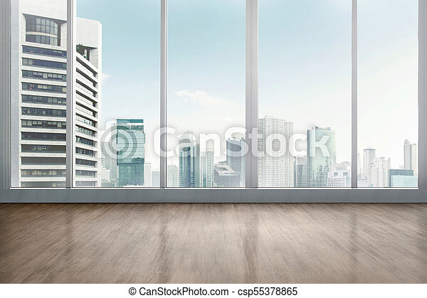 Empty office room with wooden floor with cityscape background.
