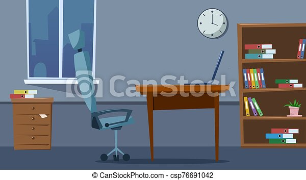 Empty office space interior with furniture. Flat style. Vector illustration - csp76691042