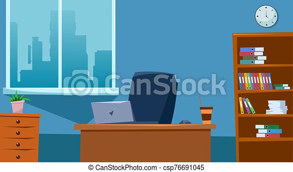 Empty office space interior with furniture. Flat style. Vector illustration - csp76691045