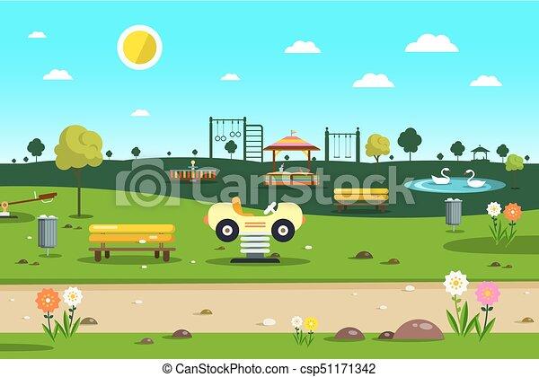 Empty Park   Playground   City Garden Vector Cartoon