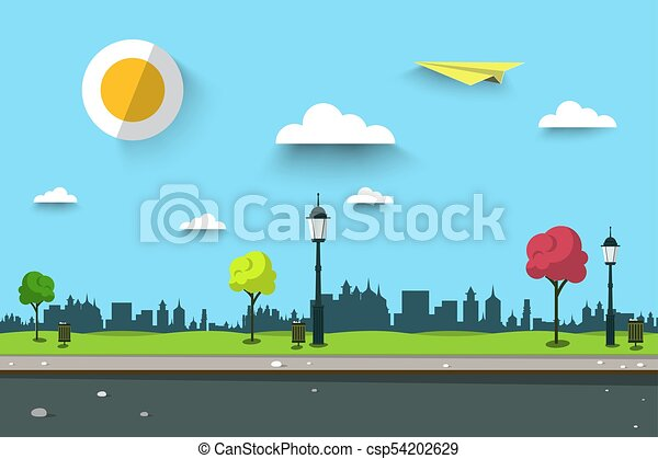 Empty Path on Park. City Landscape. Vector Urban Scene. - csp54202629
