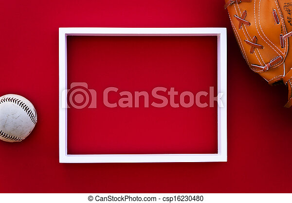 empty picture frame on a red wall - csp16230480