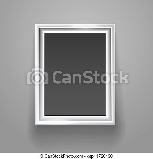 Empty picture frame on the wall template - csp11726430