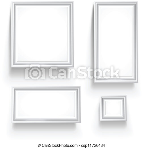 Empty picture frames collection isolated on white - csp11726434