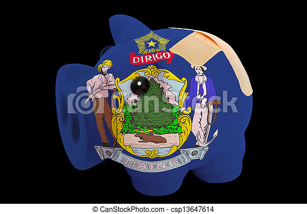 empty piggy rich bank in colors of flag of us state of maine on black background - csp13647614