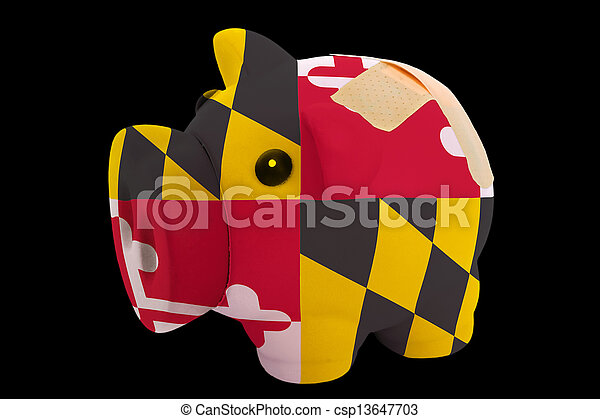 empty piggy rich bank in colors of flag of us state of maryland on black background - csp13647703