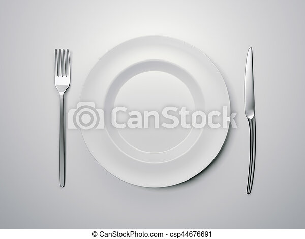 Empty Plate With Knife And Fork 3d Rendering