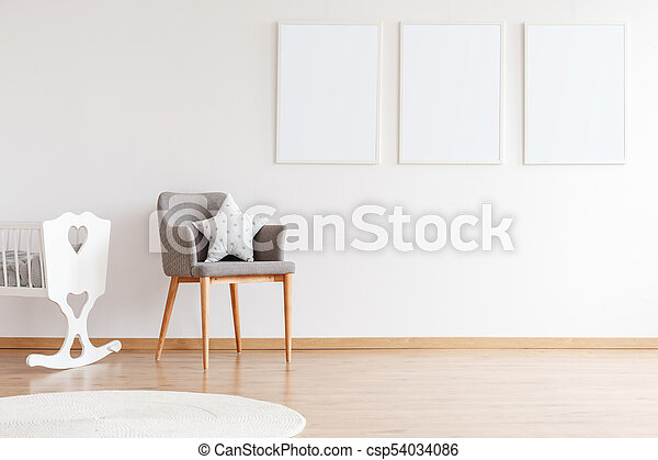 Empty posters on white wall - csp54034086