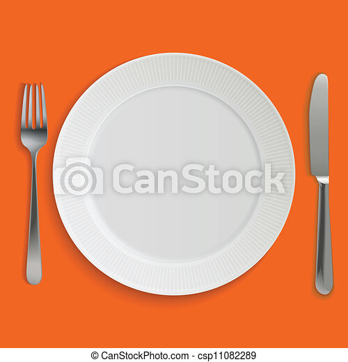 Empty realistic dinner plate, knife and fork - csp11082289