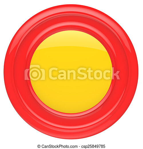 Empty red button isolated on white background. - csp25849785