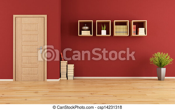 Empty Red Living Room