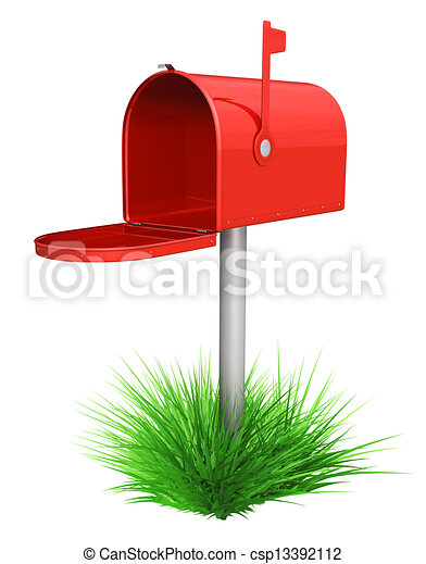 Empty red mailbox and green grass - csp13392112